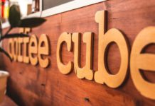 Coffee Cube Prague in trendy wooden booth